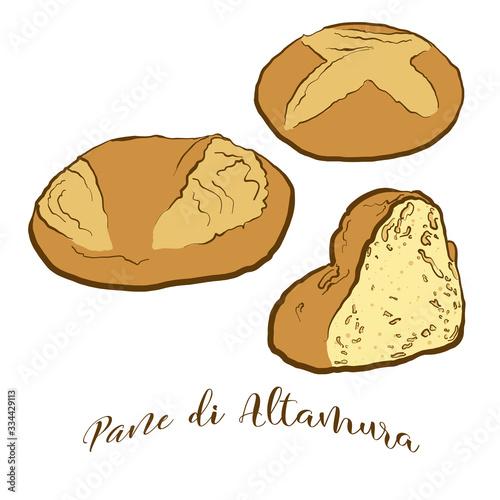 Colored drawing of Pane di Altamura bread Wallpaper Mural
