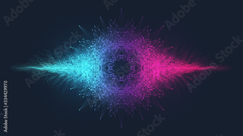 Abstract dynamic motion lines and dots background with colorful particles Fototapet