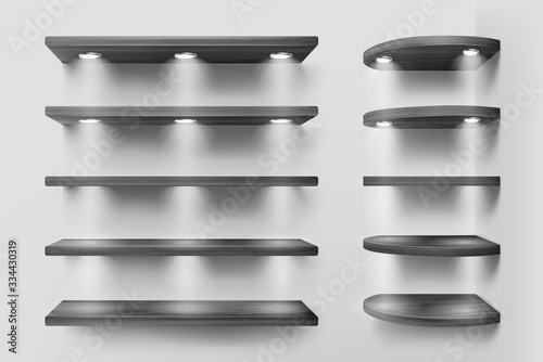 Fotomural Black wooden shelves with backlight, front and corner racks on white wall background