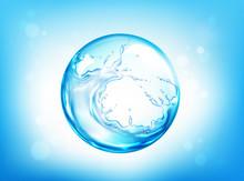 Water Splashing Sphere On Blue...