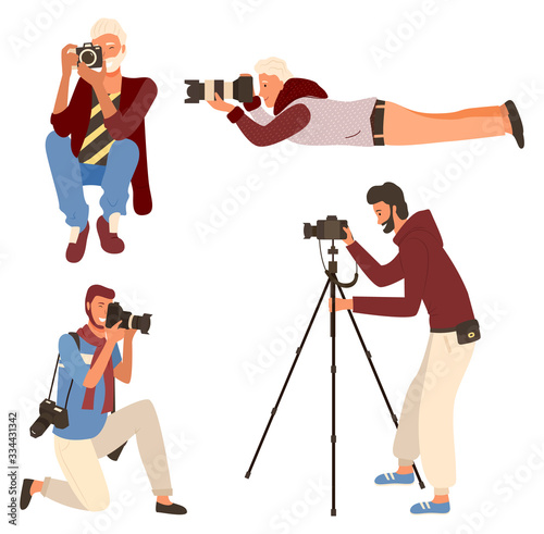 Smiling man taking photo, photographer character in casual clothes shooting. Male sitting, lying and standing with camera on tripod, photographing vector Fotobehang