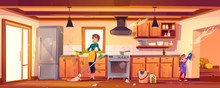 Family Cleaning Kitchen. Woman And Girl Wiping Dust And Washing Dirty Furniture.Vector Cartoon Illustration With Cuisine Interior, Mother With Sponge And Mop And Daughter Helping