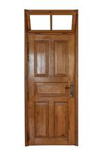 A Wooden Door With A Window Ov...
