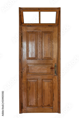 A wooden door with a window over it isolated on white background