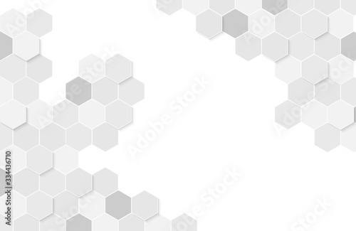 Fotografie, Obraz Modern white background textured with abstract hexagon pattern