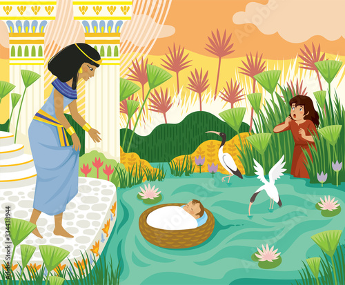 Foto Passover biblical story of baby Moses in the basket floating on the Nile towards Pharaohs daughter with his sister Miriam watching behind the papyrus
