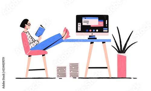 Foto Cartoon relaxed woman reading book enjoying break vector flat illustration