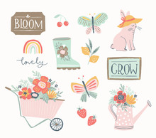 Spring And Summer Gardening Set, Hand Drawn Elements- Calligraphy, Flowers, Wheelbarrow, Watering Can And Other. Perfect For Web, Card, Poster, Cover, Tag, Invitation, Stickers. Vector Illustration.
