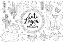 Cute Little Llama Set Coloring...
