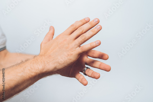 man claps and applauding Canvas Print