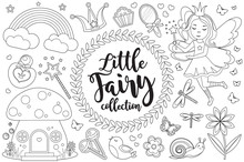 Cute Little Fairy Set Coloring Book Page For Kids. Collection Of Design Element Sketch Outline Style. Kids Baby Clip Art Funny Smiling Kit. Vector Illustration