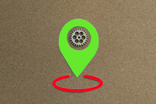 Geolocation Sign, Green, Woode...
