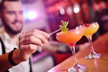 Handsome Bartender Prepares An...