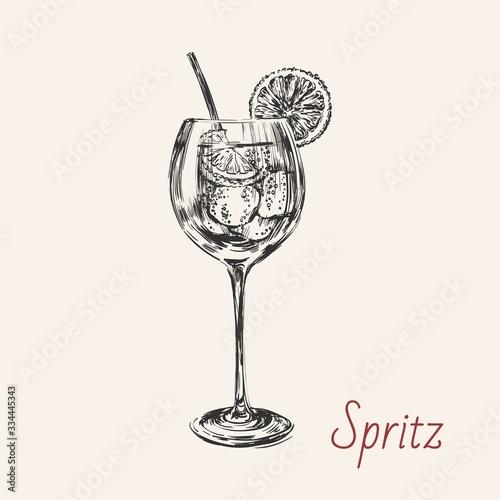 Fotografering Spritz Hand Drawn Summer Cocktail Drink Vector Illustration