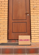 Delivery To The Door Of Your Home. Stay At Home, Self-isolation. Quarantine Or Self-isolation Due To The Loved-19 Pandemic. Label Delivery.
