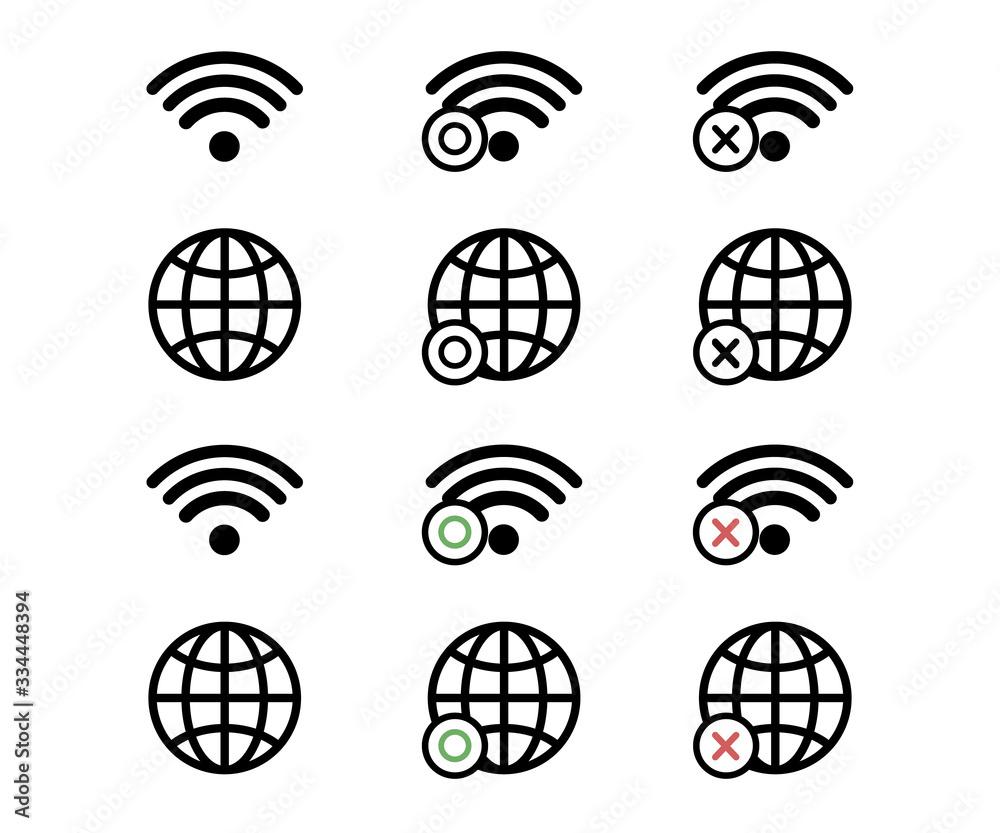 Fototapeta インターネット、ネットワークのアイコン/ピクトグラム/ビジネス