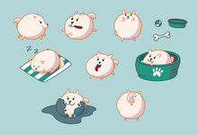 Pomeranian Puppy Set. Running,...