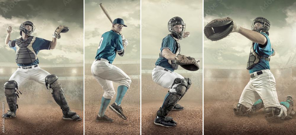 Fototapeta Baseball players in action on the stadium.