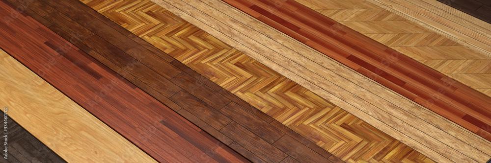 Fototapeta Verschiedenes Holz und Muster bei Parkett Verlegung
