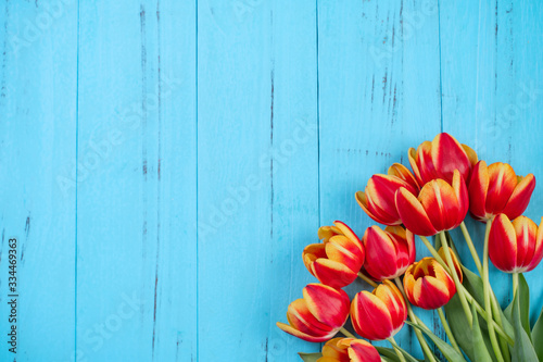 Tulip flower bunch, Mother's Day Design Concept - Beautiful Red, yellow bouquet Canvas Print
