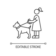 Pet Sitting Pixel Perfect Linear Icon. Woman With Dog On Leash. Pet Owner. Obedient Animal. Thin Line Customizable Illustration. Contour Symbol. Vector Isolated Outline Drawing. Editable Stroke