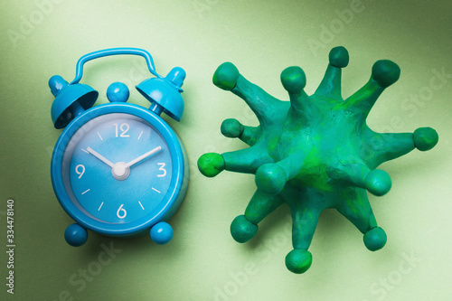 Photo Toy coronavirus and alarm clock on a green background, top view