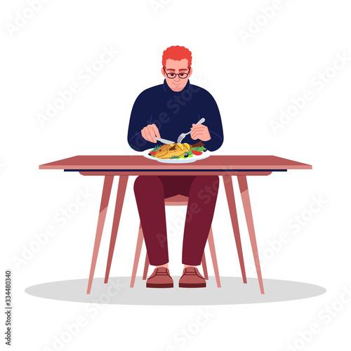 Vászonkép Young man enjoying seafood semi flat RGB color vector illustration
