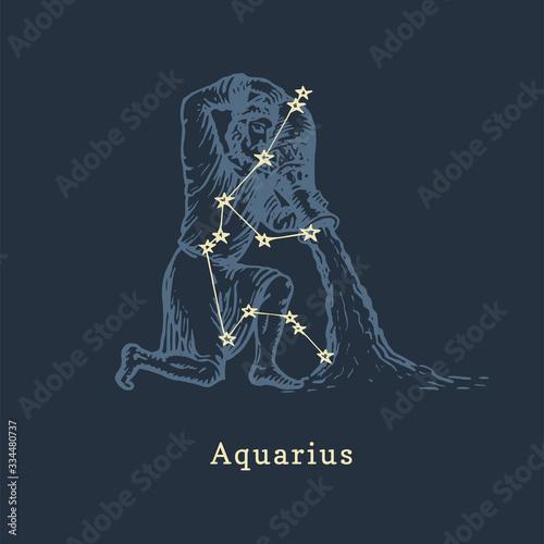 Photo Zodiac constellation of Aquarius in engraving style