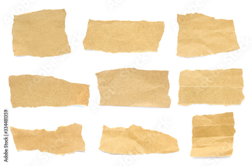 Recycled paper craft stick on a white background Fotobehang