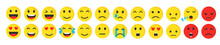 Set Of Cute Smiley Emoji Flat ...