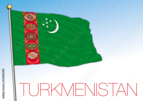 Photo Turkmenistan official national flag, asiatic country, vector illustration