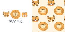 Wild Cats. T-shirt Design And Seamless Pattern For Kids