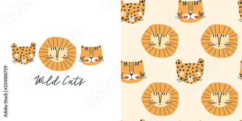Wild cats. T-shirt design and seamless pattern for kids Canvas Print