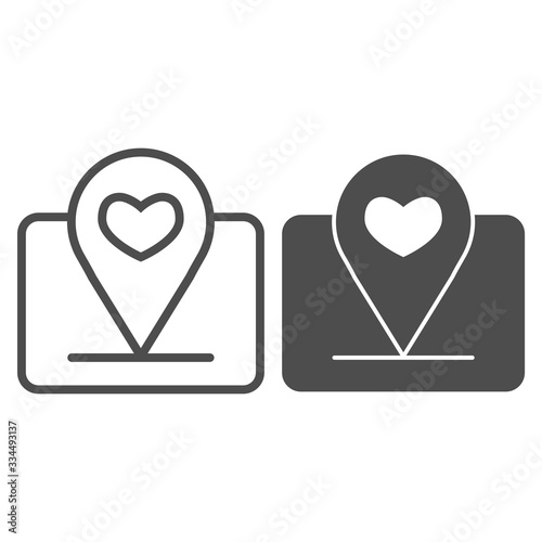 Fototapeta Location marker with heart line and solid icon