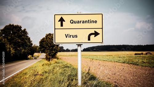 Fotografie, Obraz Street Sign to Quarantine versus Virus