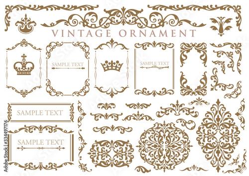 Obraz vintage ornament set. floral frames and borders. - fototapety do salonu