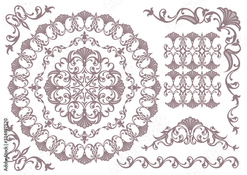 Obraz vintage ornament set. floral frames and borders. - fototapety do salonu