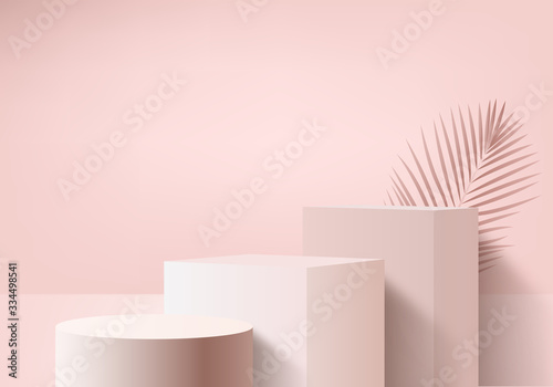 Foto Background vector 3d pink rendering with podium and minimal pink wall scene, minimal abstract background 3d rendering abstract geometric shape pink pastel color