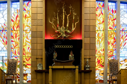 Aron Kodesh Of Jewish Synagogue With Flaming Bush Sculpture and Stained Glass Canvas Print