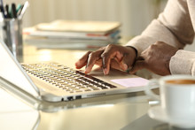 Black Man Hands Using Touchpad On Laptop At Home