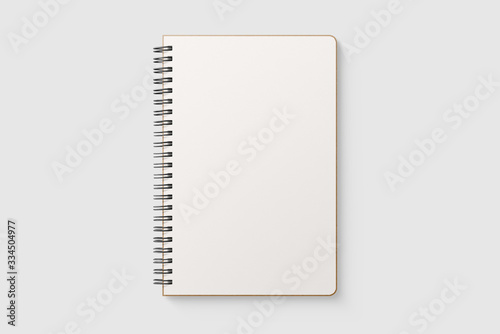 Obraz na plátně Real photo, blank spiral bound notepad mockup template with Kraft Paper cover, isolated on light grey background