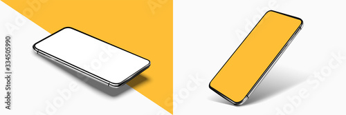 Obraz Smartphone frame less blank screen mockup, rotated position. 3d isometric illustration cell phone. Smartphone perspective view. Template for infographics or presentation UI/UX design interface. vector - fototapety do salonu