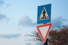 Road Signs Against The Sky. Ro...