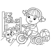 Coloring Page Outline Of A Cartoon Girl Riding A Bicycle Or Bike With A Dog. Game Room And Toys. Coloring Book For Kids