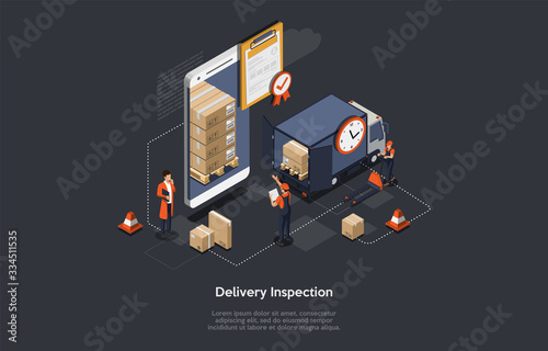 Foto Isometric Delivery Inspection Concept