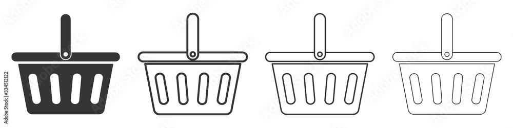 Fototapeta Set of shopping basket icons. Vector illustration.