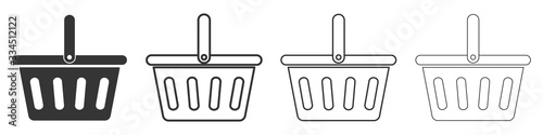 Fotografie, Obraz Set of shopping basket icons. Vector illustration.