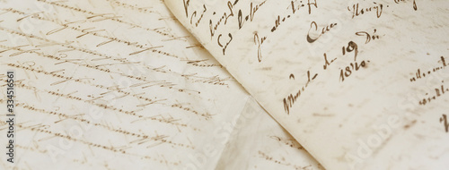 Obraz closeup of old handwriting; vintage paper background - fototapety do salonu