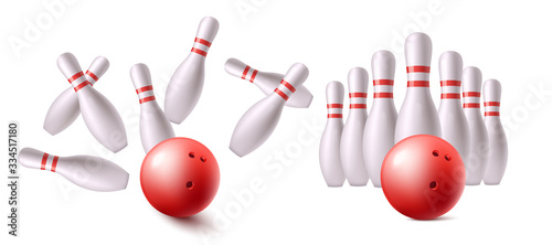 Slika na platnu Red bowling ball before and after hitting strike with realistic white pins
