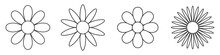 Flowers Linear Icons Set. Vect...
